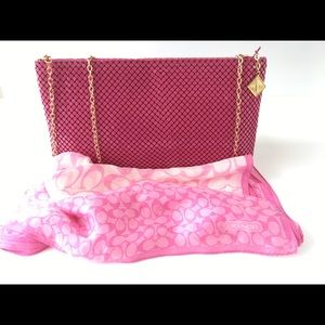 Whiting Davis Hot Pink Purse & Coach Silk Scarf